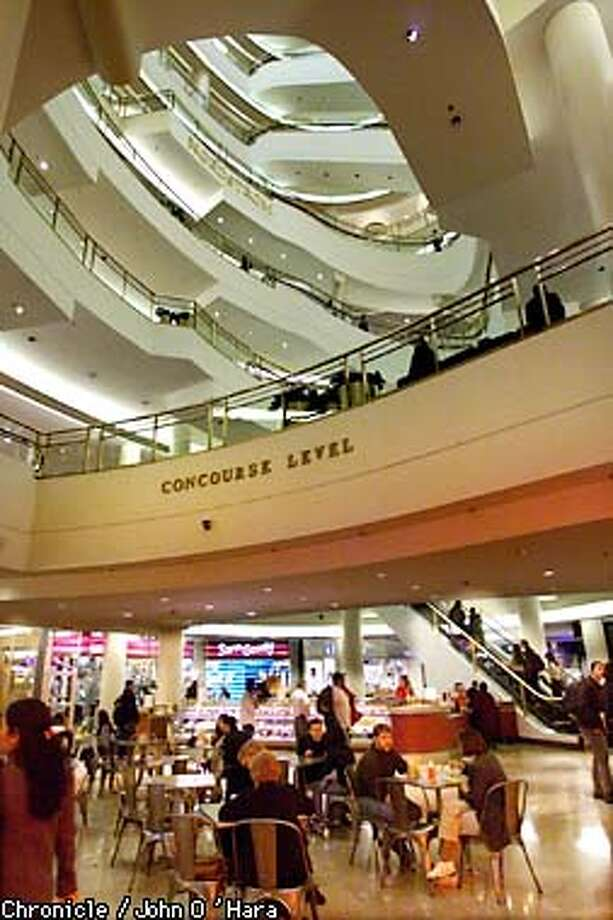 San Francisco Center, San Francisco,CA  Interior views, from the lowest level where food concessions are, looking up towards concourse level and Nordstroms above that  Photo/John O'Hara Photo: John O'Hara