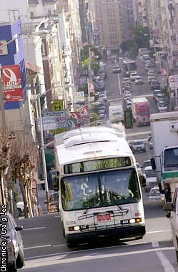 Photo of one of the dirty diesel spewing Muni buses making it's way up Geary Blvd. Story about how Muni is continuing to buy dirty diesel buses while every other California city is converting to cleaner, quieter buses powered by natural gas. Photo by Craig Lee/San Francisco Chronicle Photo: CRAIG LEE
