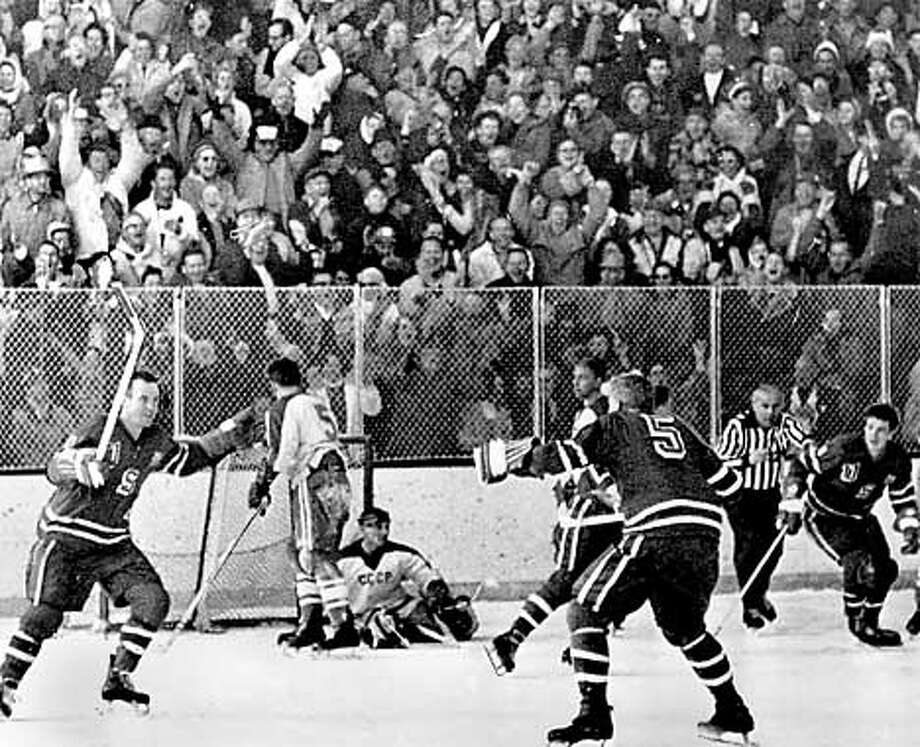 U.S. scores the winning goal vs. U.S.S.R. at the Winter Olympics, February 29, 1960. Photo: HANDOUT