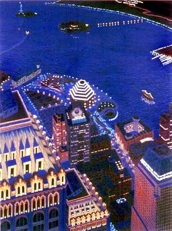 """Yvonne Jacquette """"Mixed Heights and Harbor from World Trade Center II,"""" 1998, oil on canvas. Private collection.  HANDOUT."""