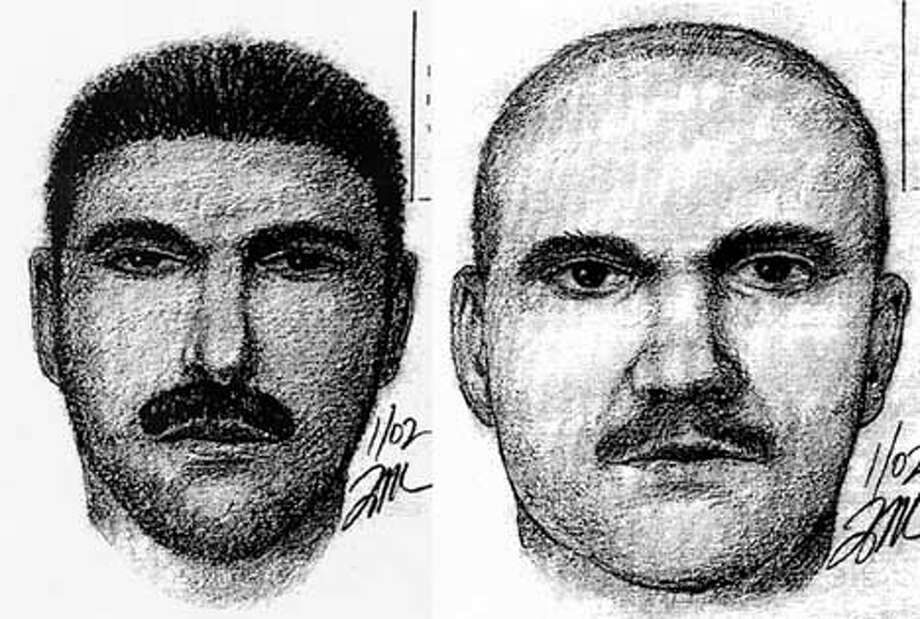 Police are offering $5,000 for the arrest of suspects, shown in sketches below, who have been impersonating officers.