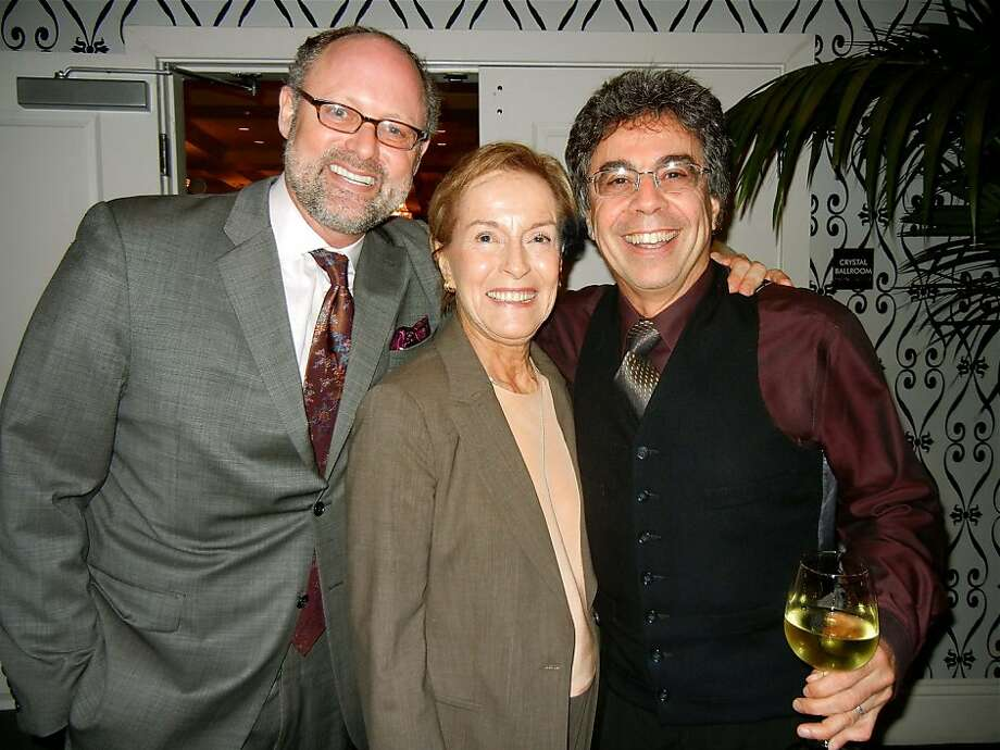 CalShakes Artistic Director Jonathan Moscone (at left) with his mom, Gina Moscone, and Berkeley Rep Artistic Director Tony Taccone at the Bay premiere of Ghost Light. Jan 2012. By Catherine Bigelow. Photo: Catherine Bigelow, Special To The Chronicle