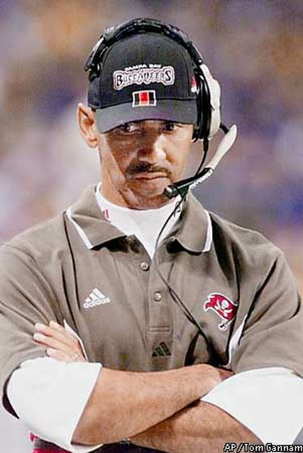 FILE--Tampa Bay Buccaneers head coach Tony Dungy watches his team struggle against the St. Louis Rams, Jan. 23, 2000 during the fourth quarter of the NFC Championship game in St. Louis. The Buccaneers play the Detroit Lions at home Thursday night, Oct. 19, 2000, which is a game ahead of the Bucs in the NFC Central.(AP Photo/Tom Gannam) Photo: TOM GANNAM