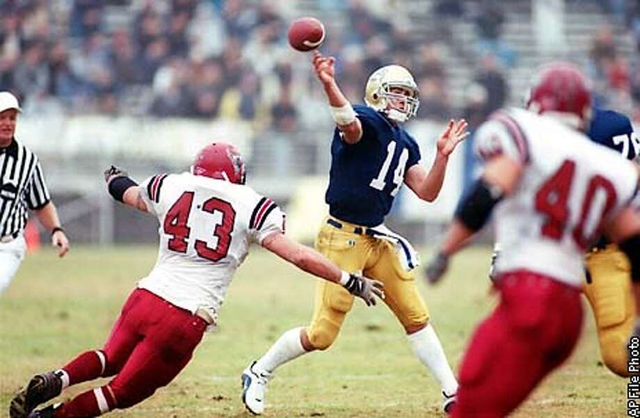 UC Davis quarterback J.T. O'Sullivan throws for one of six touchdowns while under pressure from Mesa State's Mike Nincehelser in the second quarter Saturday, Nov. 25, 2000, in Davis, Calif. UC Davis won 62-18. (AP Photo/The Vacaville Reporter, Joel Rosenbaum) Photo: JOEL ROSENBAUM
