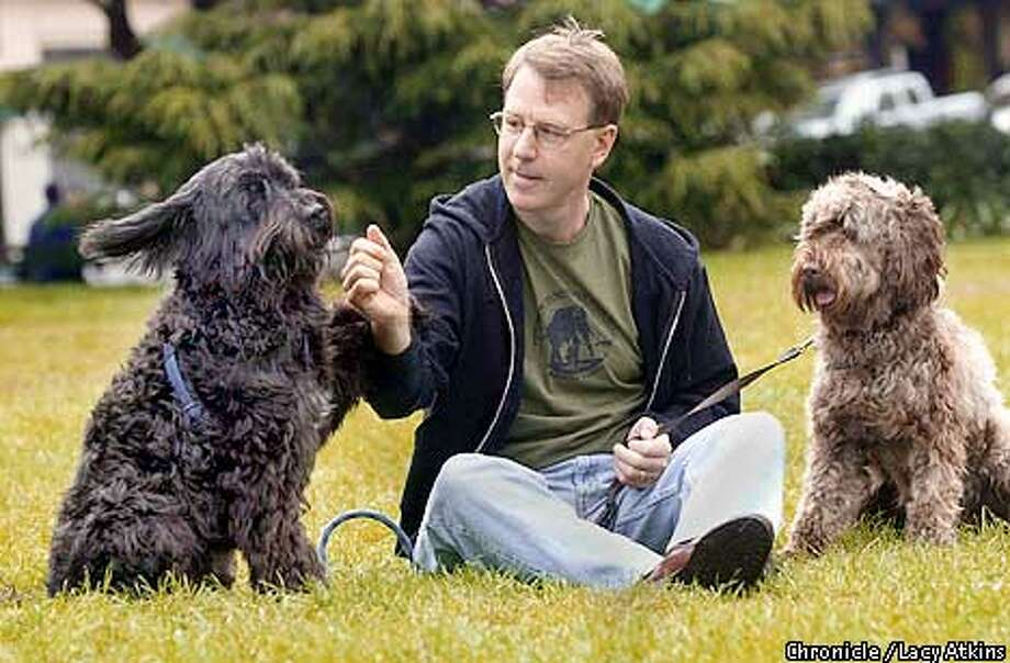 Mike Korchinsky, founder and CEO of Wildlife Works play with his dogs at Washington Square Park in North Beach, Wed. Aug. 15,01.  Photo By Lacy Atkins/SanFrancisco Chronicle Photo: Lacy Atkins