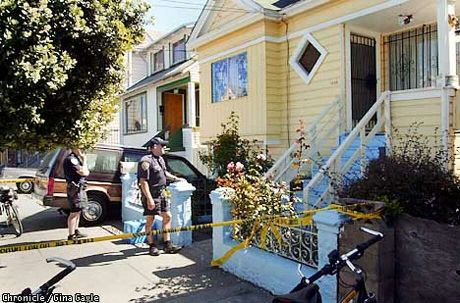 Outside of the home where a mother and father were killed by their son in Bayview. Photo by Gina Gayle/The SF Chronicle. Photo: GINA GAYLE