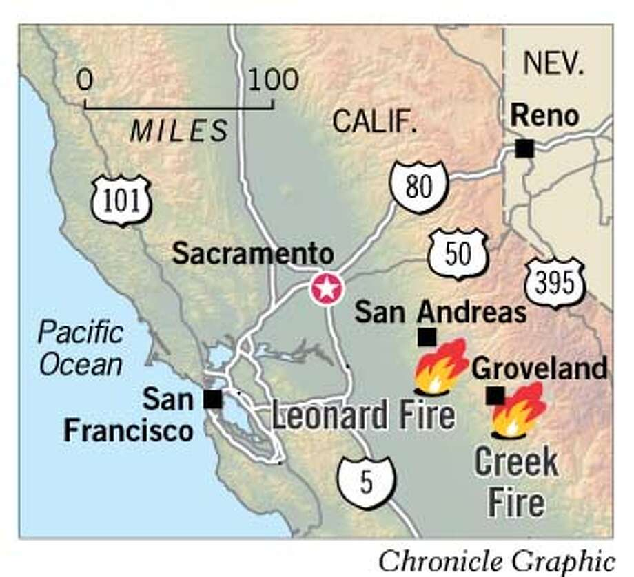 Sierra Wildfires. Chronicle Graphic