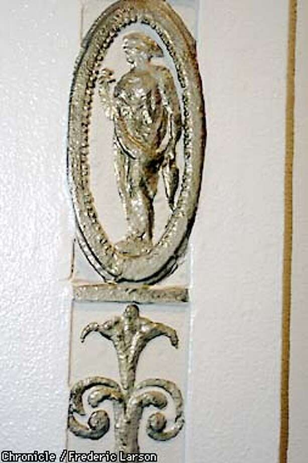 SMALL25A-C-15AUG01-HM-FRL: Apartment building on Bush Street in SF lobby has garlands and cherubs and other details that have been done in gold. Chronicle photo by Frederic Larson Photo: FREDERIC LARSON