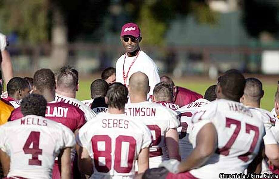Head Coach Tyrone Willingham speaks to the team during Stanford's first day of training camp. Photo by Gina Gayle/The SF Chronicle. Photo: GINA GAYLE