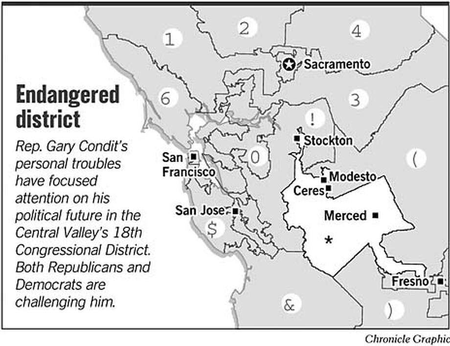 Endangered District. Chronicle Graphic Photo: Todd Trumbull