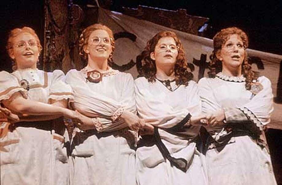 "Houston Grand Opera's 2000 production of Mark Adamo's ""Little Women"" From left: Margaret Lloyd (Amy), Stacey Tappan (Beth), Stephanie Novacek (Jo) and Joyce DiDonato (Meg)  Photo by George Hixson, Houston Opera Photo: Photo By George Hixson"