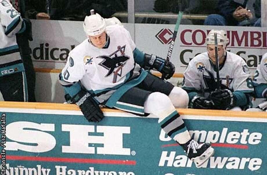 Marcus Ragnarsson (defense) gets on the ice druing the first period at the San Jose Arena. Liz Hafalia Photo: LIZ HAFALIA