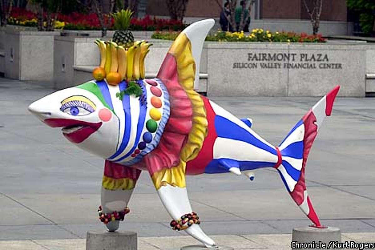 Carmen Sharkana. in Farimont plaza S.J. Shark art in San Jose .Photo By Kurt Rogers