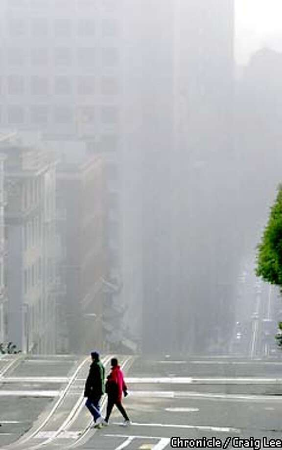It was a foggy morning today. Photo of California Street at Powell.  Photo by Craig Lee/San Francisco Photo: CRAIG LEE