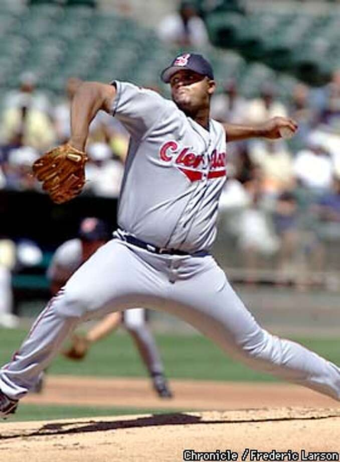 ATHLETICS1-C-23AUG01-SP-FRL: Starting pitcher for the Cleveland Indians (local, he's from Vallejo CA) C.C. Sabathia worked 3 and two-thirds inning. The Oakland Athletics vs the Cleveland Indians at the Network Coliseum in Oakland. Chronicle photo by Frederic Larson Photo: FREDERIC LARSON