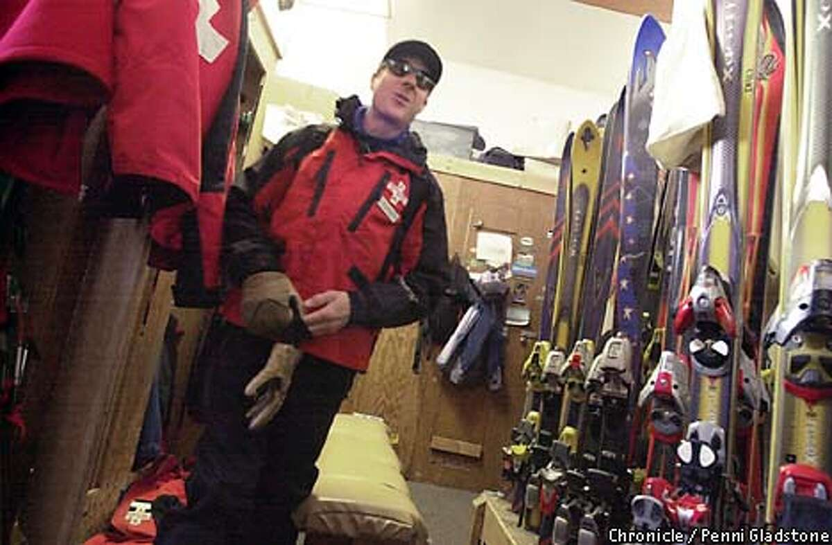 Jim Goldstone, a ski patroler, in the locker room at Alpine Meadows Ski Resort, prepares to go out into the cold to ck the mountain for anything that can be considered an avalance hazard. PHOTOGRAPHY BY PENNI GLADSTONE