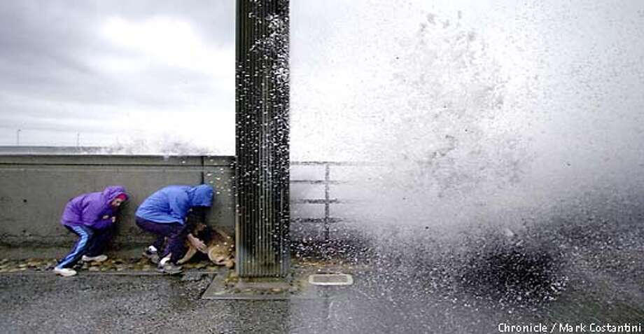 WEATHER02B-C-01JAN02-MT-MC-DUCKING FOR COVER FROM A MONSTER WAVE IN PACIFICA ARE BRYAN HOWELL, HIS SON ZACH HOWELL AND THEIR DOG CHEEBA. Chronicle Photo by Mark Costantini Photo: MARK COSTANTINI