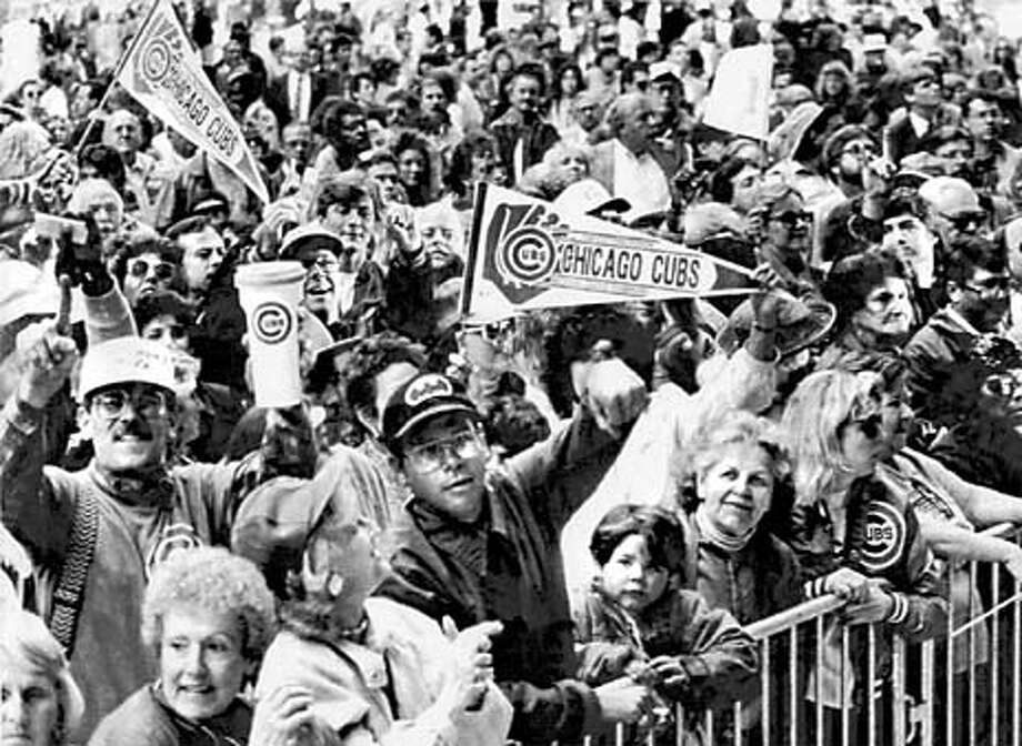 Thousands of fans gather at the Daley Center Plaza to celebrate the Cubs' 3-2 victory over the Expos to win the NL championship. Photo: HANDOUT