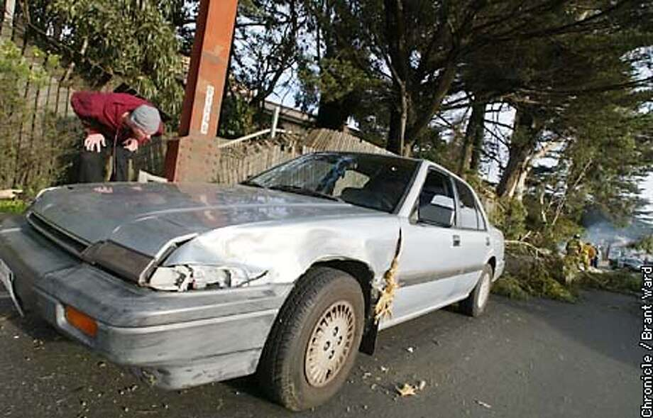 Amanda Gerard's Honda Accord is looked over by her boyfriend Brandon Danvenport after Amanda managed to drive over a huge fallen eycalyptus tree that fell across Doyle Drive near Lombard Sunday. The fallen tree closed traffic on the popular route to the Golden Gate Bridge. By Brant Ward/Chronicle Photo: BRANT WARD
