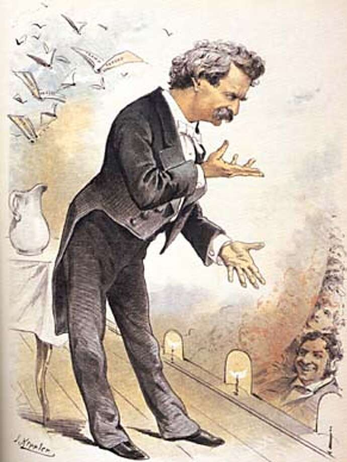 Mark Twin on stage. Drawn by Joseph Keppler for the Dec. 16, 1885 issue of of Puck. From the Book Mark Twain an Illustrated Biography, PAGE 127. HANDOUT.