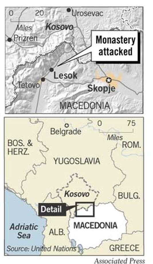Macedonian Monastery Bombed. Associated Press Graphic