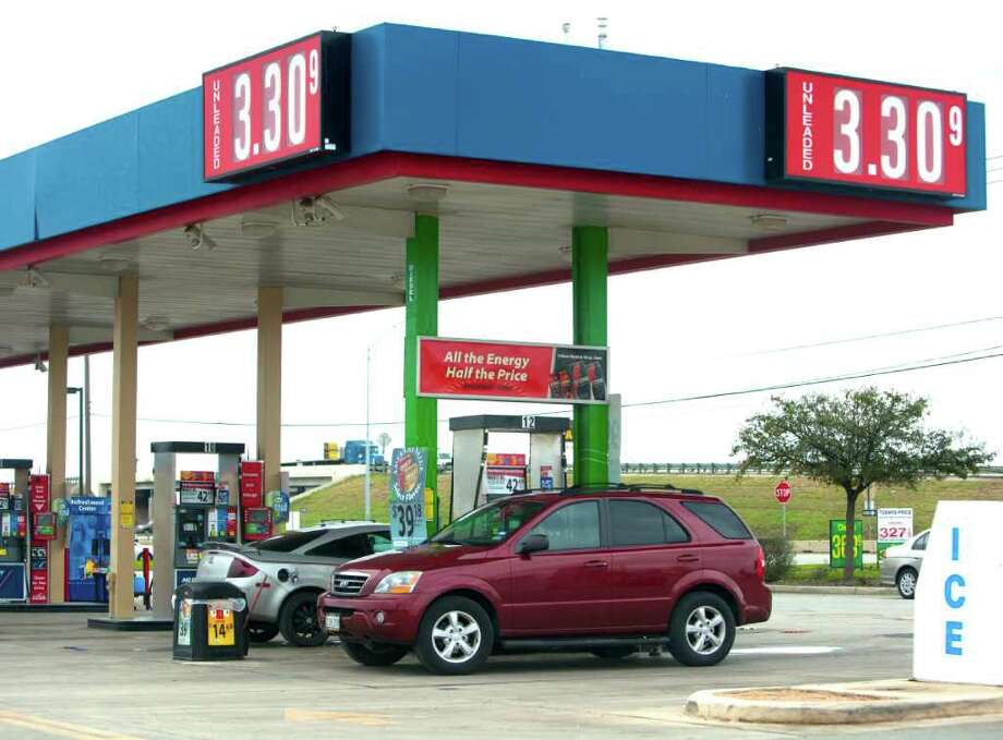 The signs at the Wal-Mart near Loop 410 and Rigsby tell the unhappy tale: Gas prices are on the rise, though not yet threatening the San Antonio record of $3.96 set in July 2008. Photo: William Luther, San Antonio Express-News / © 2012 SAN ANTONIO EXPRESS-NEWS