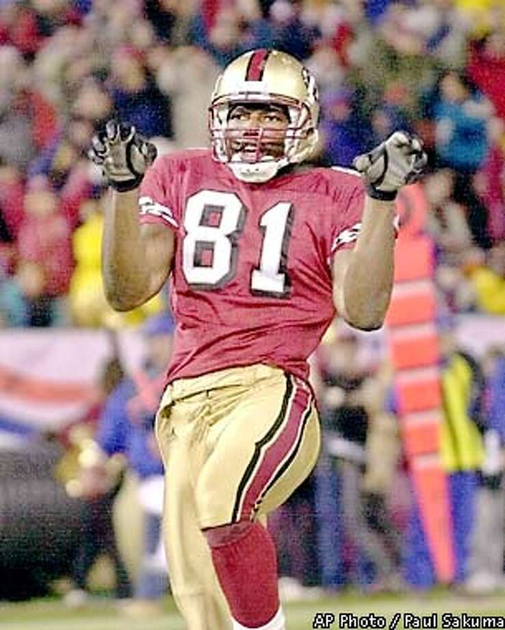 San Francisco 49ers wide receiver Terrell Owens dances in the end zone after scoring against the Buffalo Bills in the third quarter in San Francisco, Sunday, Dec. 2, 2001. (AP Photo/Paul Sakuma) Photo: PAUL SAKUMA