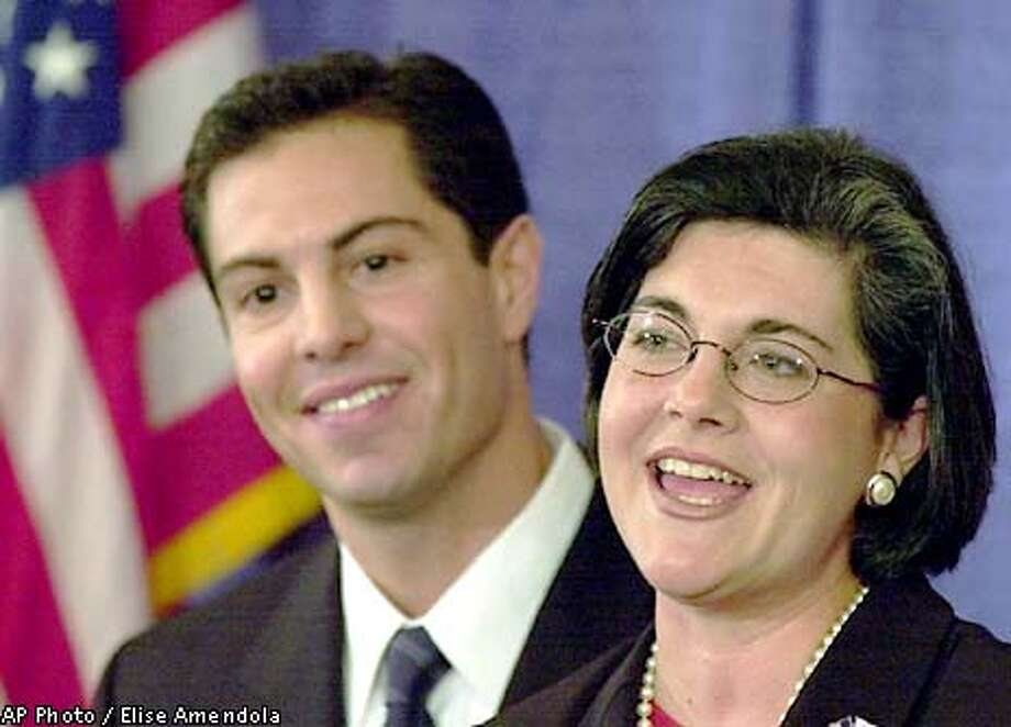 Massachusetts Acting Gov. Jane Swift, 36, smiles as she introduces former Melrose, Mass. mayor Patrick C. Guerriero as her choice for lieutenant governor in Boston, Thursday, Jan. 3, 2002. Guerriero, 33, a senior staffer in the Swift administration, will challenge James Rappaport, the only declared Republican candidate for lieutenant governor. (AP Photo/Elise Amendola) Photo: ELISE AMENDOLA