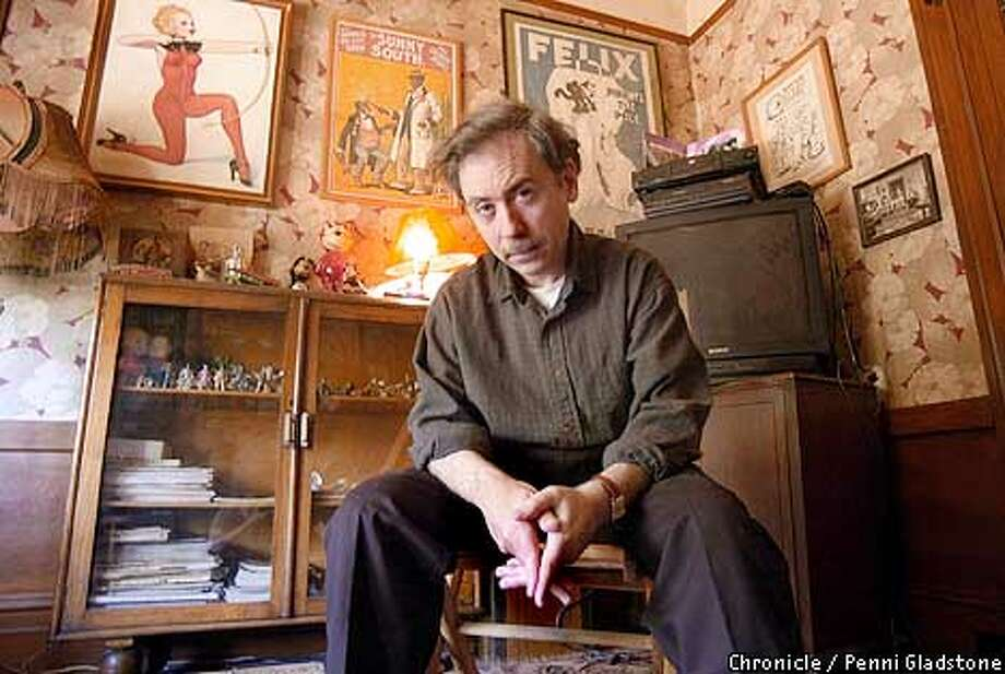 "filmmaker Terry Zwigoff is the award-winning director who made """"Crumb,""' the 1995 documentary about illustrator R. Crumb. Now he's made his first fiction feature, called ""Ghost World,' at home in SF  PHOTO BY PENNI GLADSTONE/CHRONICLE Photo: PENNI GLADSTONE"