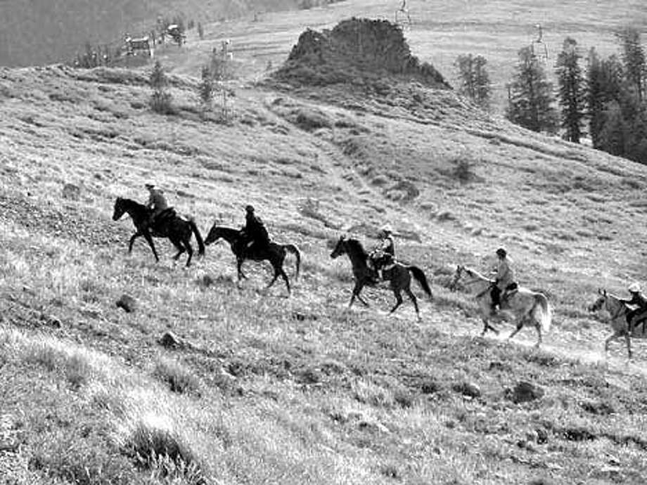 2001 Tevis Trail ride. Riders make their way up a hill. MUST CREDIT: Lucy Chaplin Trumbull Photo: LUCY CHAPLIN TRUMBULL