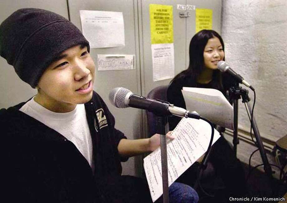 Youth Voice is a radio show in Cantonese produced by teens. We witness a taping at their studio at the Community Educational Services offices at 80 Fresno Street. L to R are Andrew Wen, 18, Carrie Mai, 18, at microphones  CHRONICLE PHOTO BY KIM KOMENICH Photo: KIM KOMENICH