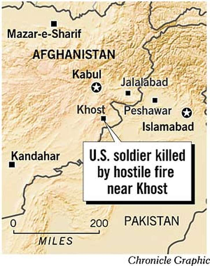 U.S. Soldier Killed By Hostile Fire Near Khost. Chronicle Graphic