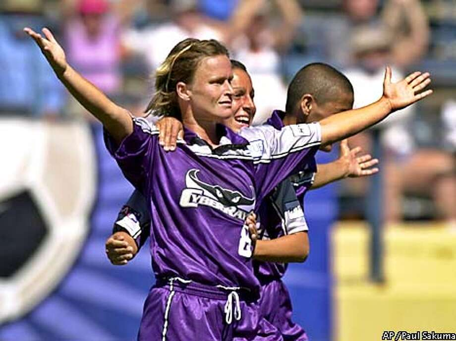 Bay Area CyberRays' Julie Murray celebrates after scoring the winning goal against the New York Power in the second half of their WUSA semifinal game in San Jose, Calif., Saturday, Aug. 18, 2001. (AP Photo/Paul Sakuma) Photo: PAUL SAKUMA