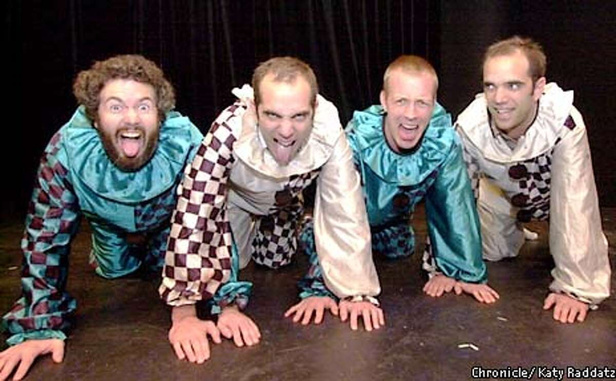 Photo by Katy Raddatz--The Chronicle Local comedy groups get together for a 3 week festival at the Shelton Theater 533 Sutter St. SF. SHOWN: guys in clown suits are L to R Dan Klein, John Reichmuth, Rob Baedeker, James Reichmuth (yes, they're twins)--name of group is Kasper Hauser.