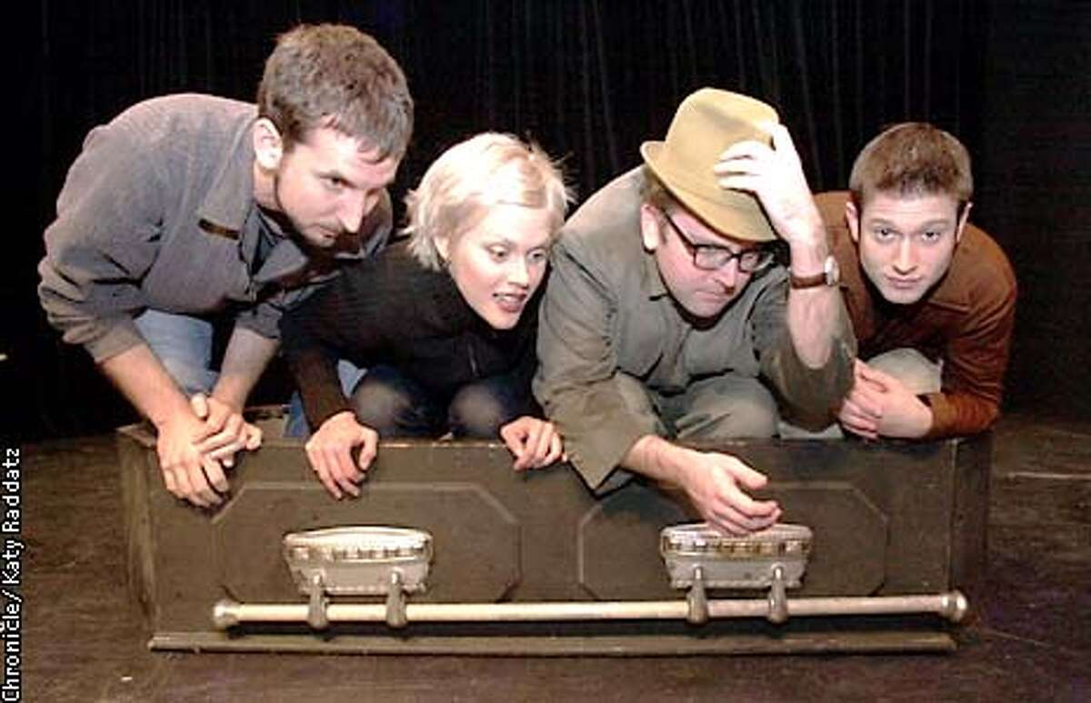 Photo by Katy Raddatz--The Chronicle Local comedy groups get together for a 3 week festival at the Shelton Theater 533 Sutter St. SF. SHOWN: group in coffin are the Totally False People L to R Gabriel Diani, Janet Varney, David Owen, Cole Stratton.