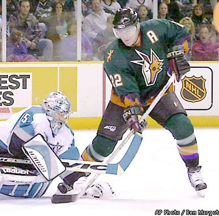 San Jose Sharks goalie Evgeni Nabokov (35) blocks a shot from Phoenix Coyotes' Todd Simpson (22) in the first period Friday, Jan. 4, 2002, in San Jose, Calif. (AP Photo/Ben Margot) Photo: BEN MARGOT