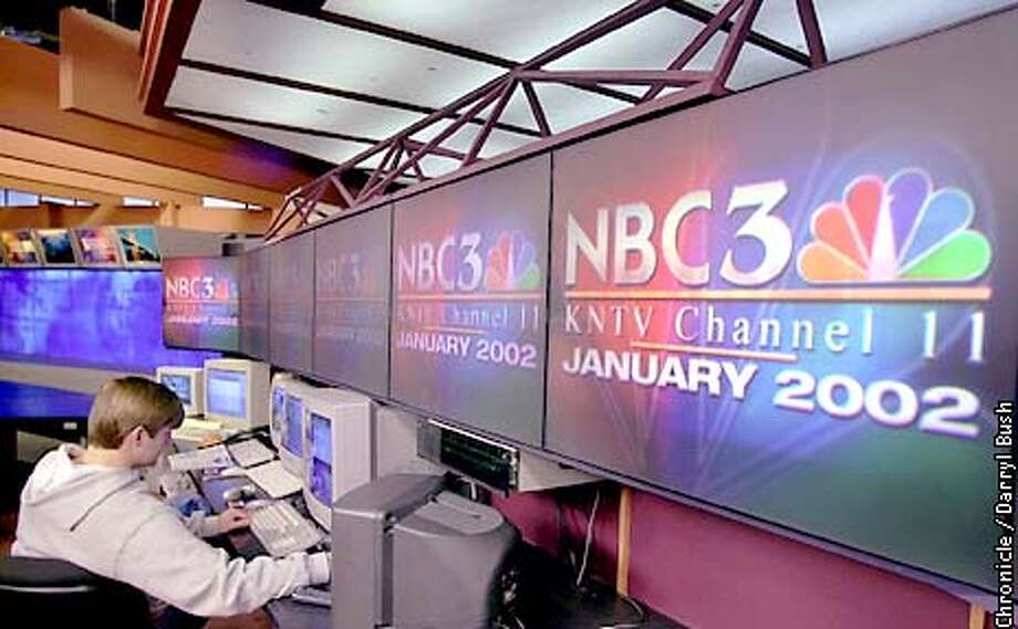 A technician works on a computer, while the new NBC logo is displayed on the KNTV Studio monitors in San Jose. The station is scheduled to become a NBC affiliate on Jan.1. Chronicle Photo by Darryl Bush Photo: Darryl Bush