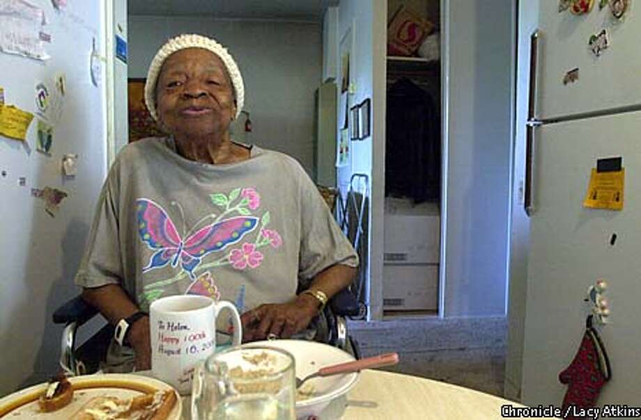 Helen Wilson, at her breakfast table in her apartment, Wed. Aug.8,01. Still spry and happy lives on her own in San Francisco. She will be turning 101 next week, Aug.16,01.  Photo By Lacy Atkins/SanFrancisco Chronicle Photo: Lacy Atkins
