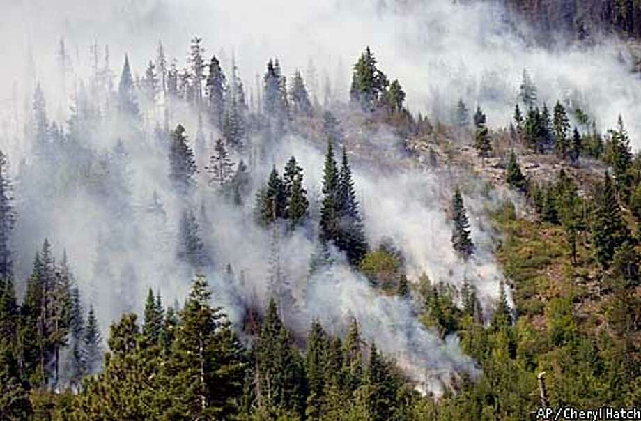 Smoke rises form the Victoria Creek fire Sunday Aug. 19, 2001 along Icicle Ridge near Leavenworth, Wash. Fires in the Icicle Ridge complex have burned 6,500 acres and are being fought by 810 firefighters. (AP Photo/Cheryl Hatch, Pool) Photo: CHERYL HATCH