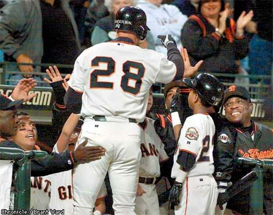 A pinch hit homerun in the bottom of the eigth inning by John Vander Wal was just the ticket for Dusty Baker and the Giants as they took the last game of their series with Atlanta 4-1. By Brant Ward/Chronicle Photo: BRANT WARD