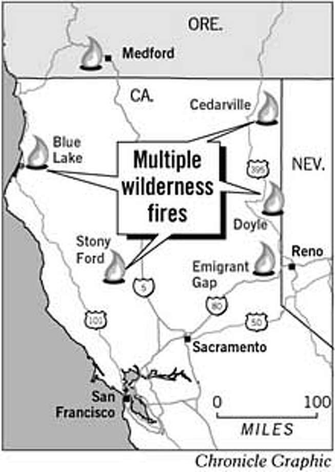 Multiple Wilderness Fires. Chronicle Graphic