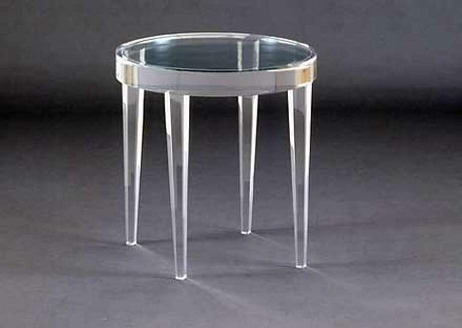"JARRETT CIGARETTE TABLE. Clear acrylic, 20"" X 20.5"""