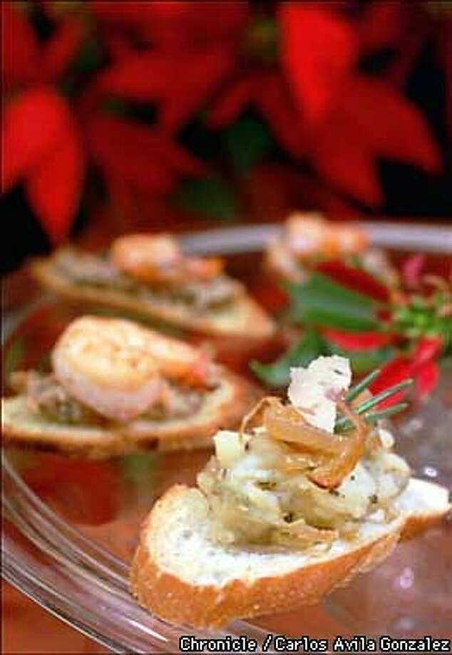 Crostini topped with potato, artichoke, carmelized onion, and rosemary. BY CARLOS AVILA GONZALEZ/THE CHRONICLE Photo: CARLOS AVILA GONZALEZ