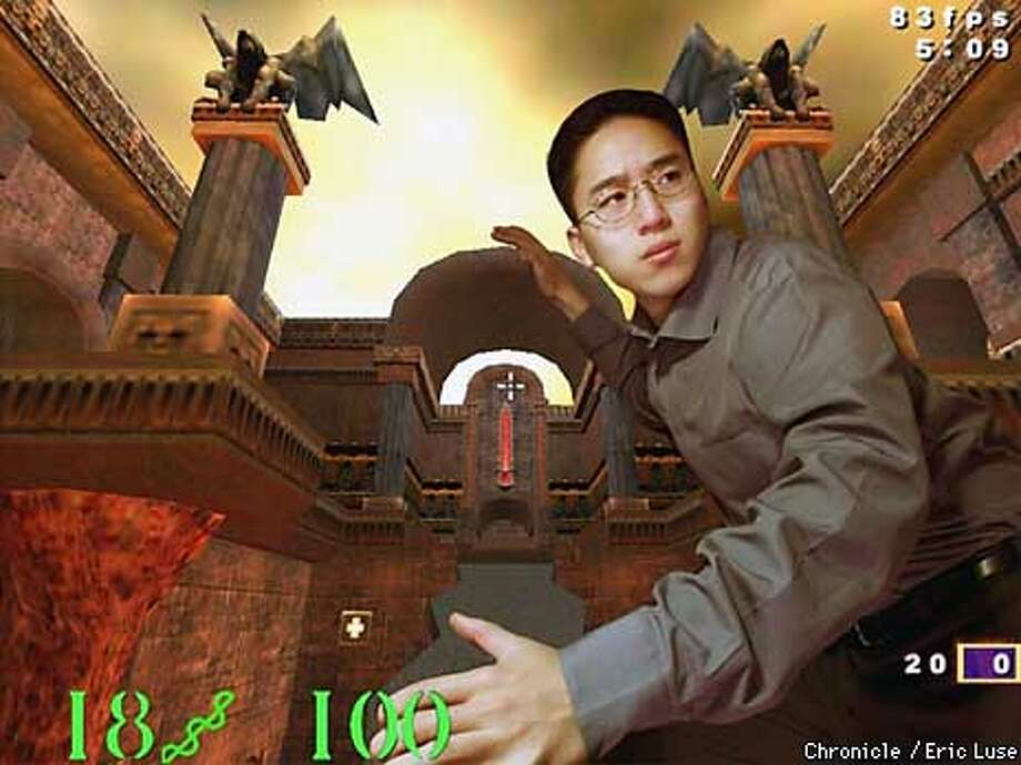 Dennnis Fong, professional gamer has launched a Web site called gamers.com which is a portal to the games online. His favorite game is Quake III which he is superimposed into.  PHOTO ILLUSTRATION BY ERIC LUSE/THE CHRONICLE Photo: ERIC LUSE