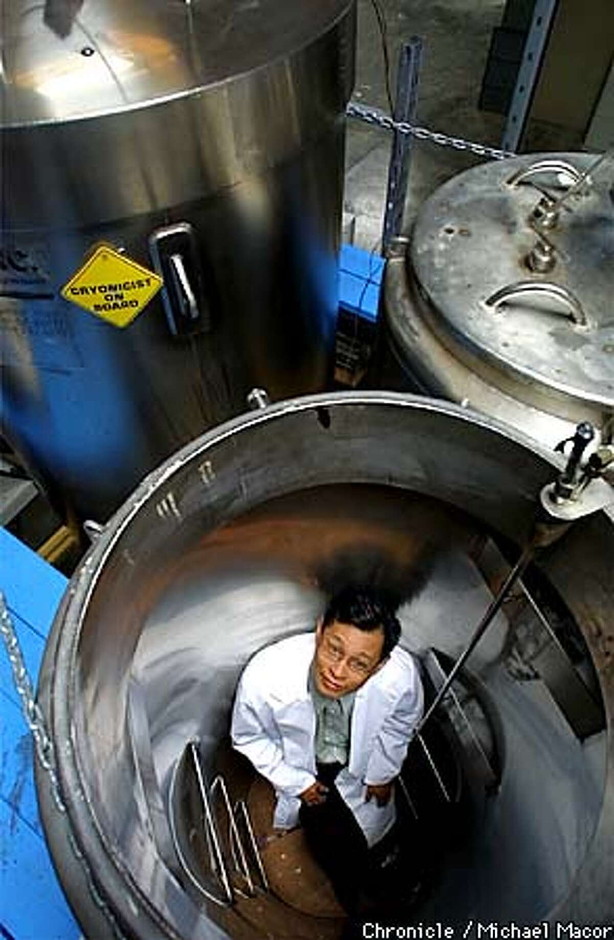 """""""Trans Time,Inc."""" a Cryonics company of San Leandro, freezes humans and animals in liquid nitrogen. Company Presdient John Rodriguiz inside one of the empty Cryon tanks used to contain the bodies. by Michael Macor/The Chronicle"""