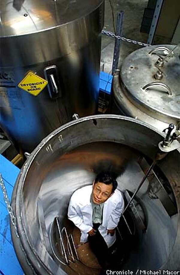 """Trans Time,Inc."" a Cryonics company of San Leandro, freezes humans and animals in liquid nitrogen. Company Presdient John Rodriguiz inside one of the empty Cryon tanks used to contain the bodies. by Michael Macor/The Chronicle Photo: MICHAE MACOR"