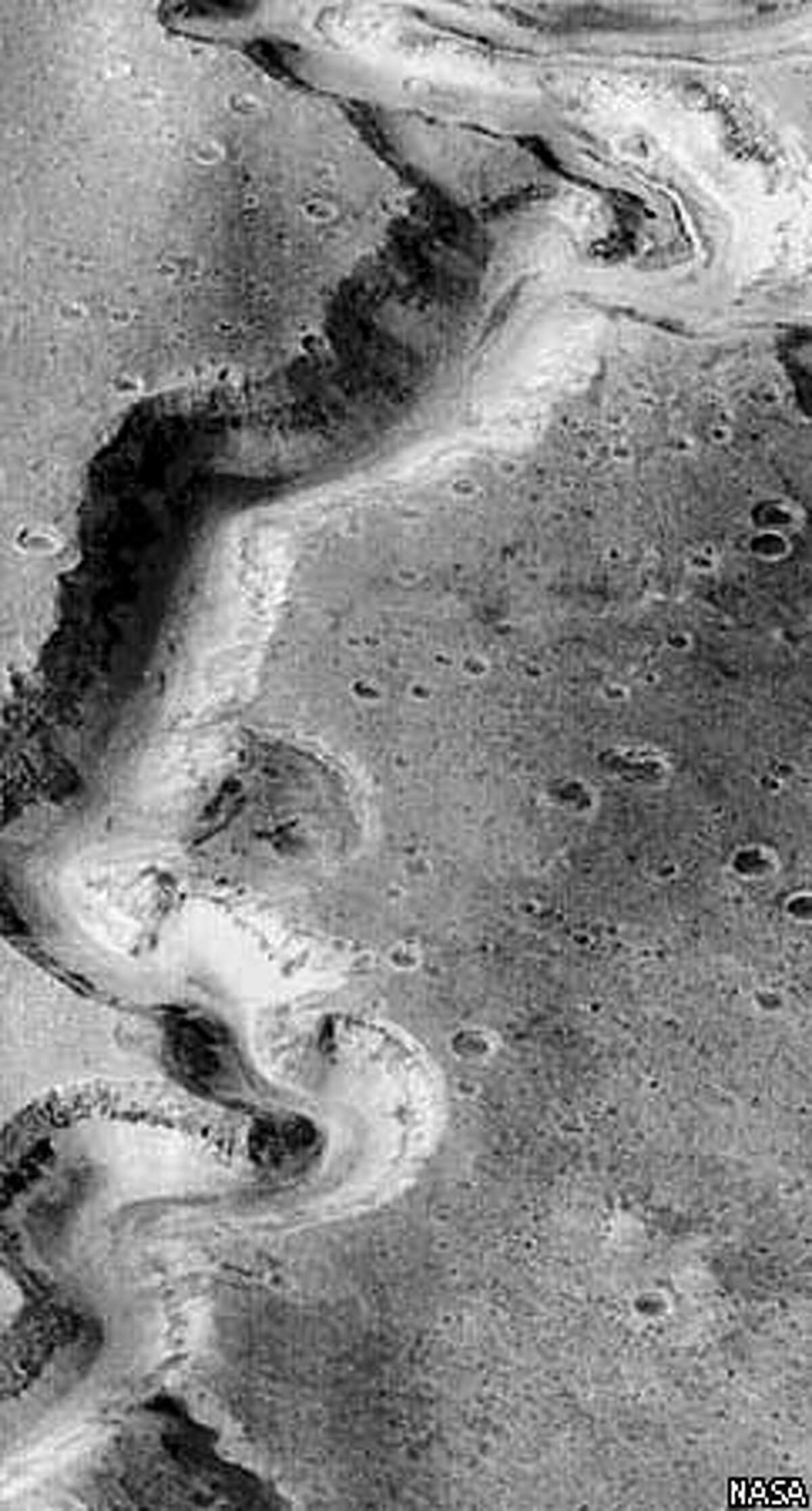 The Nanedi Vallis canyon, about 1.6 miles wide, offers evidence of water on Mars in the past, according to Chris McKay of NASA's Ames Research Center in Mountain View. NASA Photo