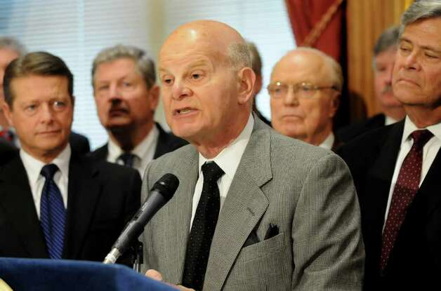 Sen. Stephen Saland, center, speaks about expanding the state's DNA databank during a news conference on Tuesday, Jan. 31, 2012, at the Capitol in Albany, N.Y. (Cindy Schultz / Times Union) Photo: Cindy Schultz