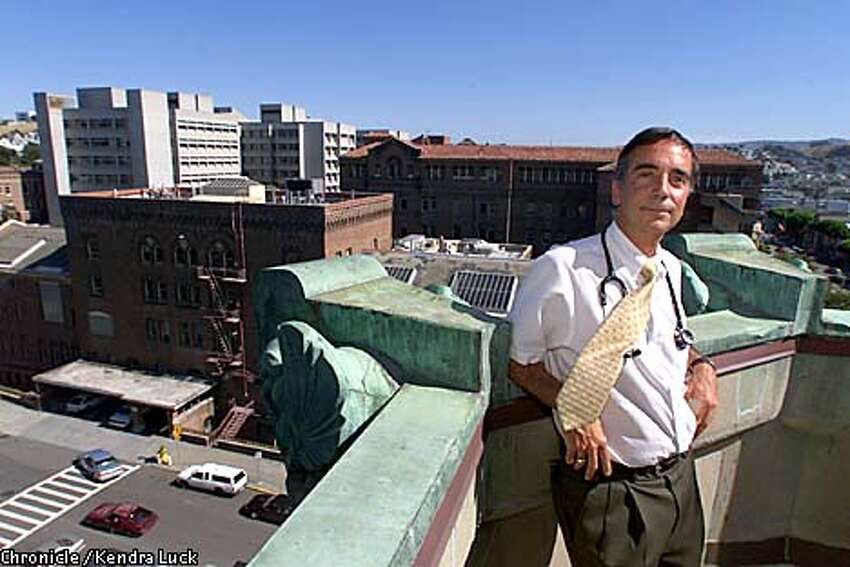 Dr. Donald Abrams, Professor of Clinical Medicine, Assistant Director UCSF AIDS Program, SFGH Chairman, in his on the roof of one of the buildings at San Francisco General Hospital, with other buildings of the hospital in the back. Abrams has been studying the effects of medical marijuana on AIDS patients for 20 years. (KENDRA LUCK/SAN FRANCISCO CHRONICLE)