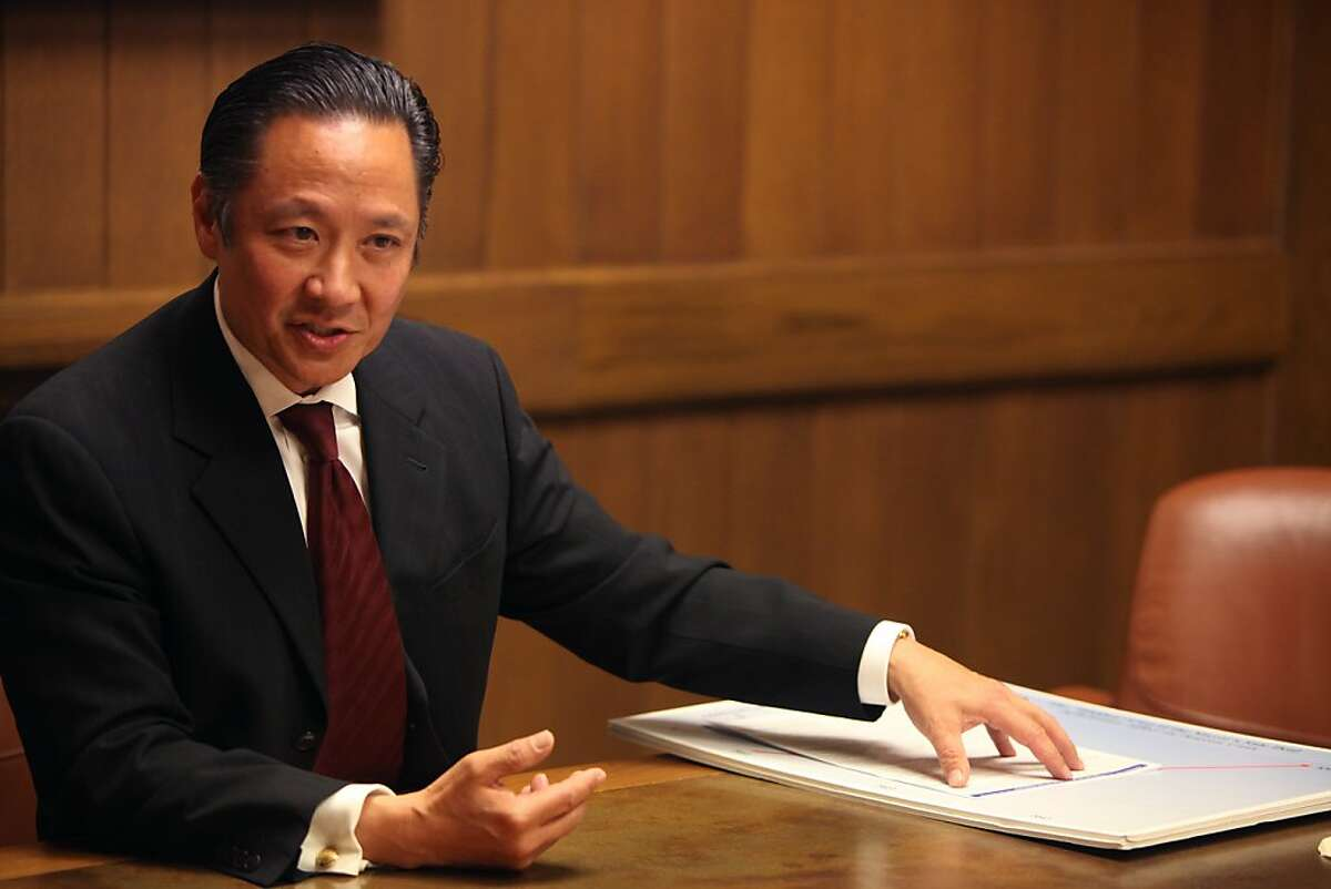 Mayoral candidate Jeff Adachi speaks to the editorial board of the San Francisco Chronicle about cutting pension plans for city workers in San Francisco, CALIF on Sept. 27, 2011.